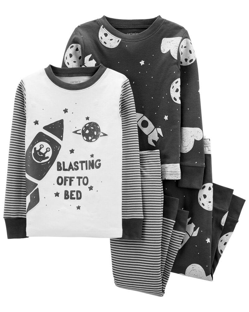 4-Piece Space 100% Snug Fit Cotton PJs, , hi-res
