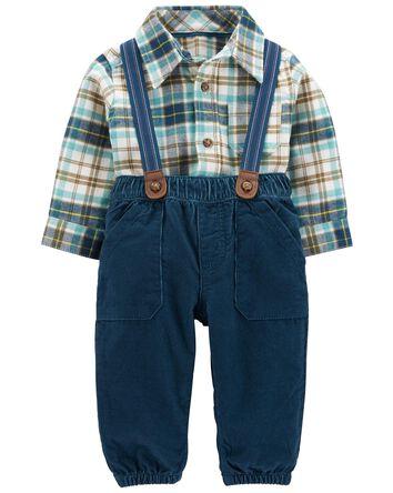 2-Piece Plaid Bodysuit & Suspender...