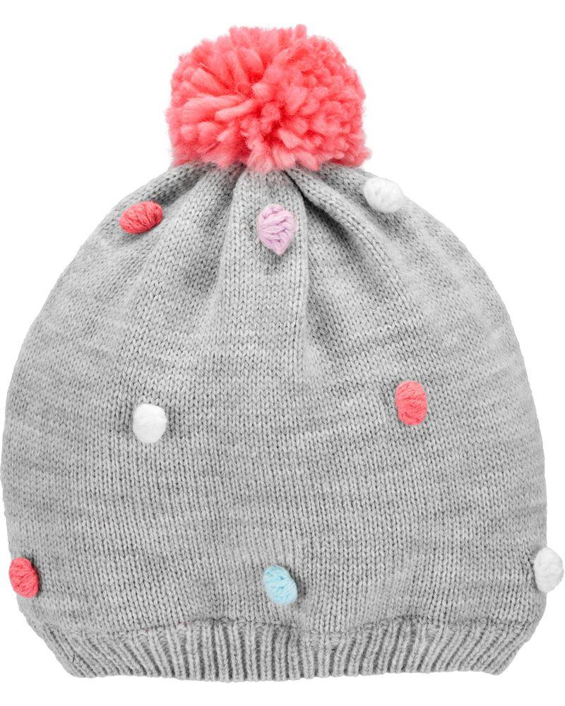 Pom Pom Knit Hat, , hi-res
