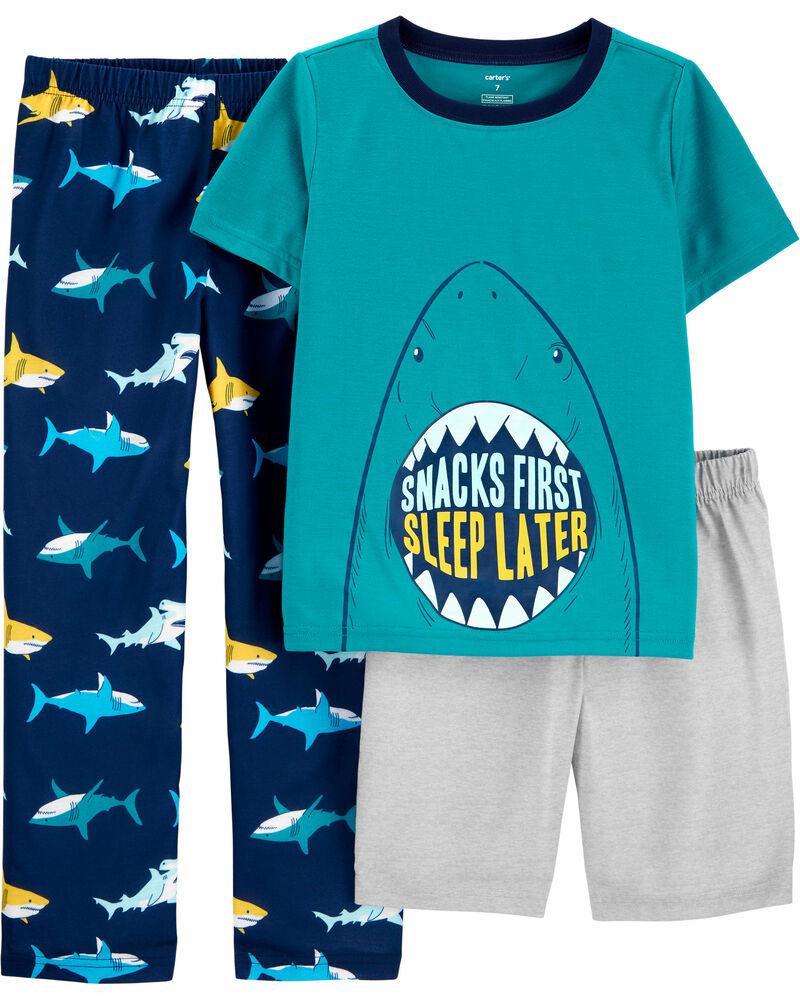 3-Piece Shark Poly PJs, , hi-res