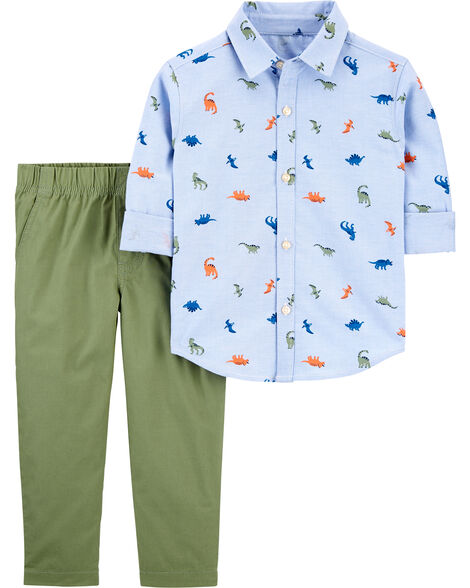 2-Piece Dinosaur Button-Front Shirt & Pant Set