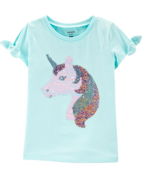 T-shirt à épaules dégagées avec licorne à paillettes réversibles