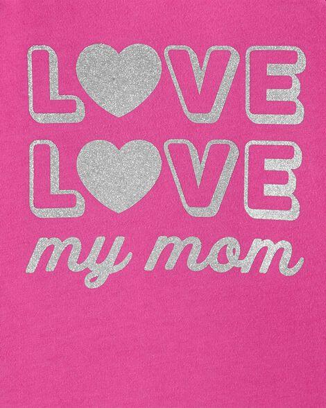 T-shirt en jersey avec slogan scintillant Love my mom