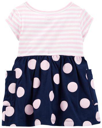 Mixed Print Jersey Dress
