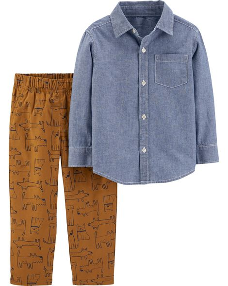 2-Piece Chambray Button-Front Top & Dog Pant Set