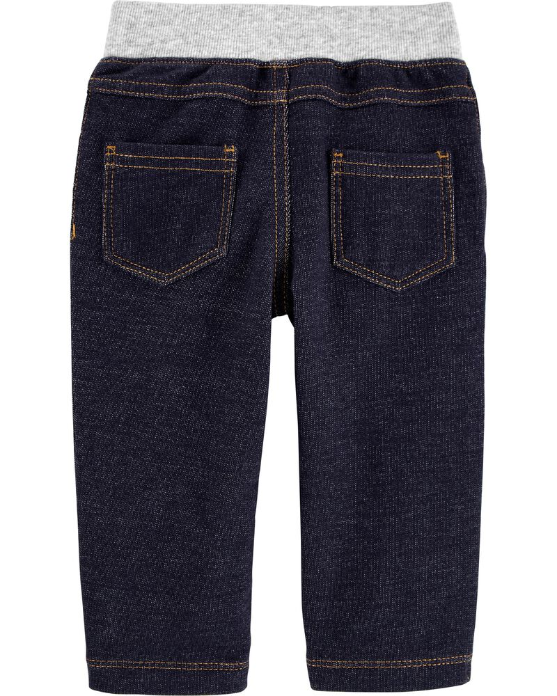 Pull-On Knit Denim Pants, , hi-res