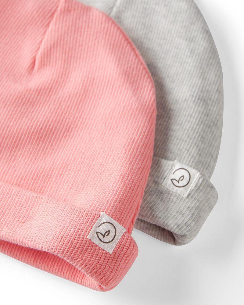 Emballage de 2 bonnets deux plis en coton côtelé biologique, , hi-res