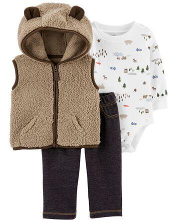 3-Piece Sherpa Little Vest Set