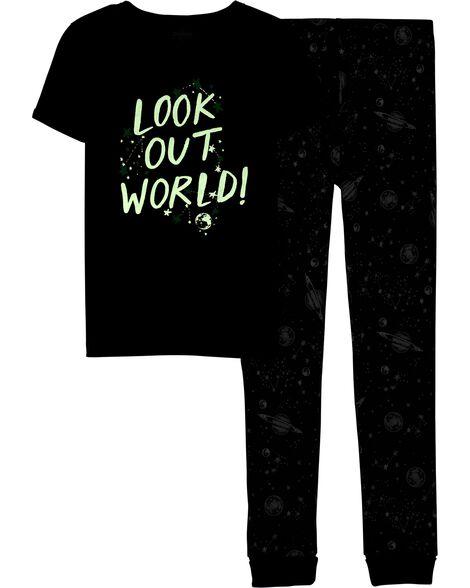 Pyjama 2 pièces en coton ajusté qui brille dans le noir