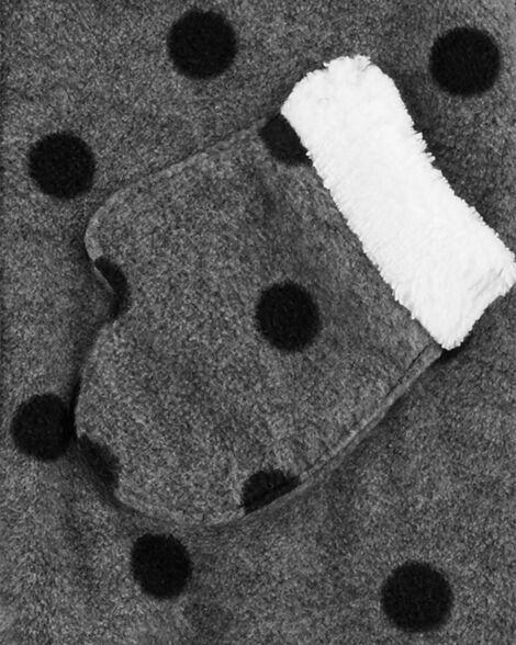 Combinaison molletonnée à capuchon avec motif à pois