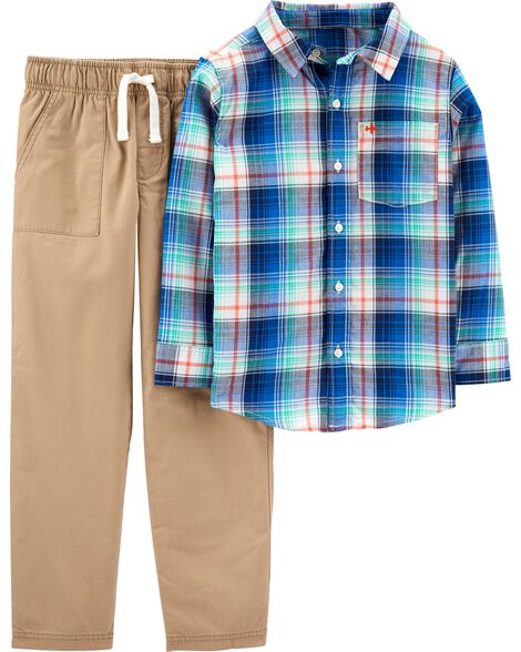 2-Piece Plaid Button-Front Top & Khaki Pant Set