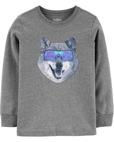 T-shirt à paillettes réversible loup