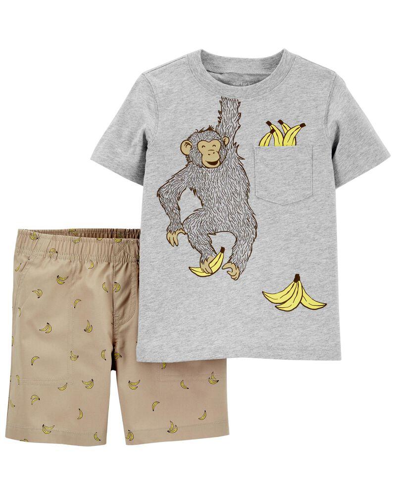 4-Piece Monkey 100% Snug Fit Cotton PJs, , hi-res