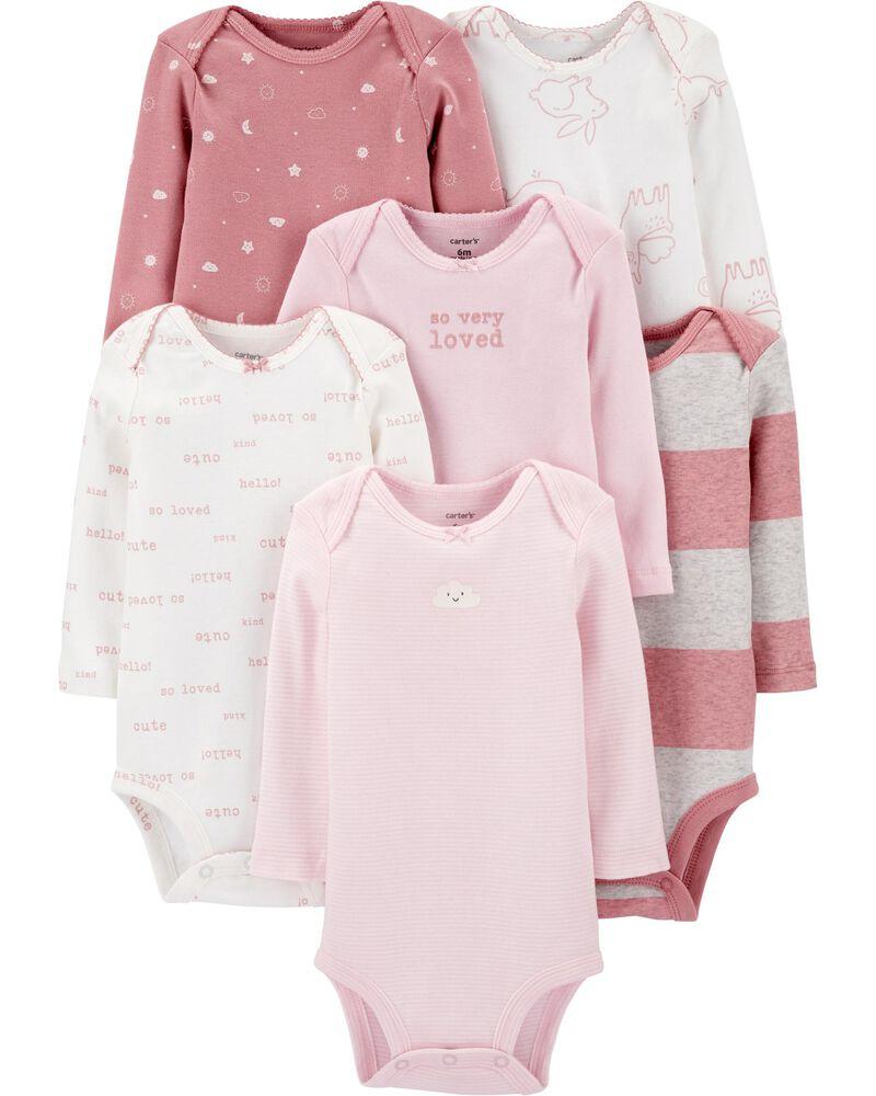 6-Pack Long-Sleeve Bodysuits, , hi-res