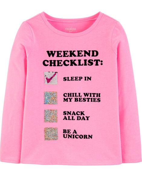 T-shirt à paillettes réversibles Weekend Checklist