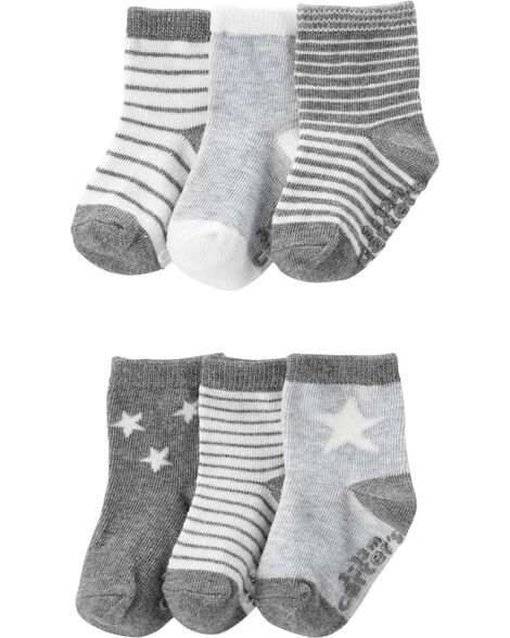 Emballage de 6 paires de chaussettes à étoiles et rayures