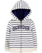 Striped Logo Fleece Hoodie, , hi-res