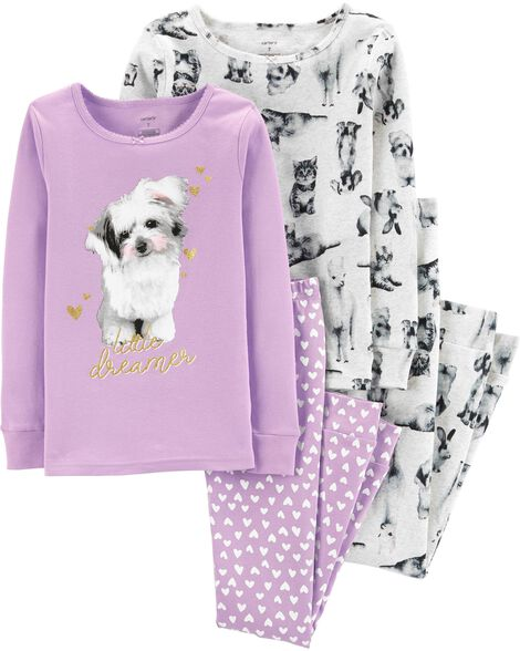 4-Piece Dog Snug Fit Cotton PJs