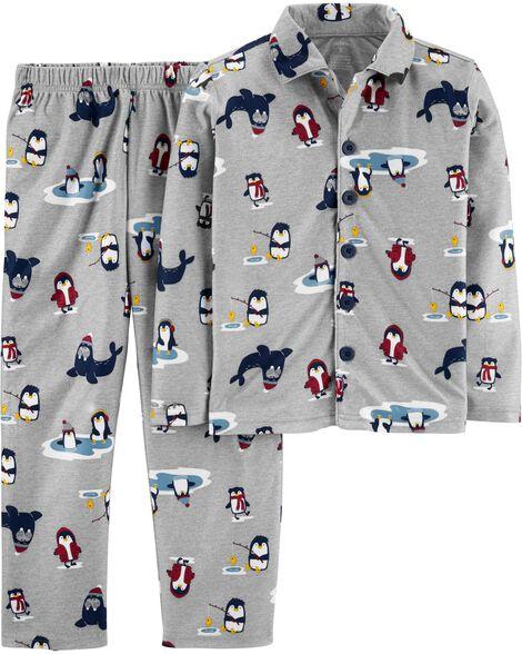 2-Piece Penguin Coat Style Fleece PJs