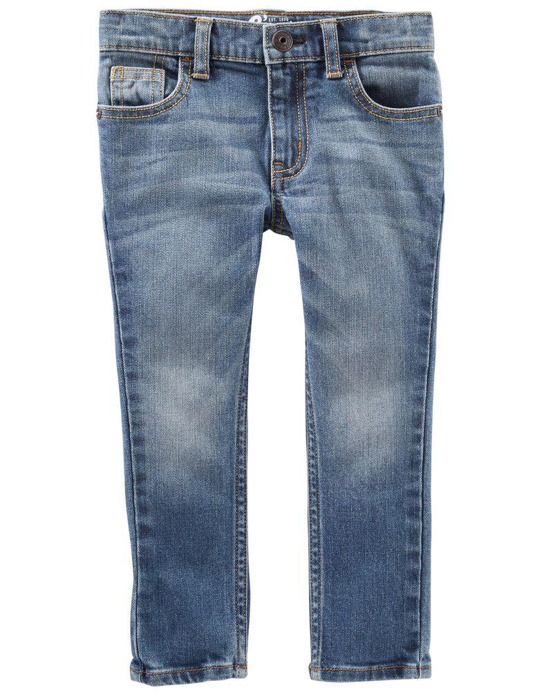 Jeans fuseau - délavage indigo vif, , hi-res