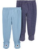 Emballage de 2 pantalons à pieds en coton, , hi-res