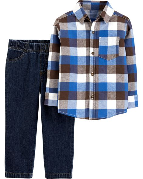 2-Piece Plaid Button-Front Top & Denim Pant Set
