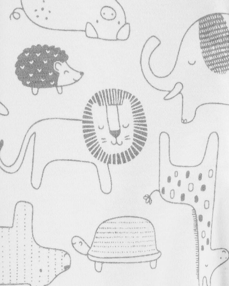 Grenouillère en coton pour dormir et jouer avec glissière 2 sens et motif animaux, , hi-res