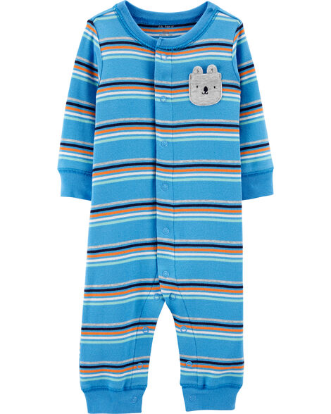 Striped Bear Snap-Up Cotton Sleep & Play