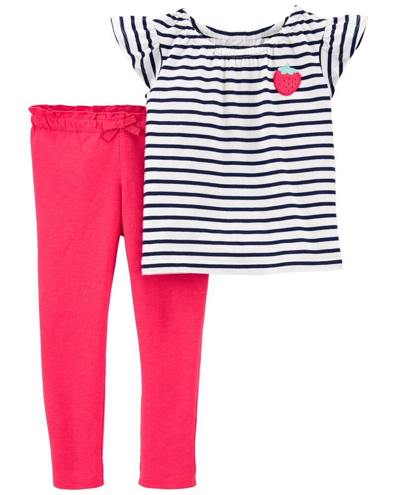 2-Piece Strawberry Tee & Slub Jersey Pant Set, , hi-res