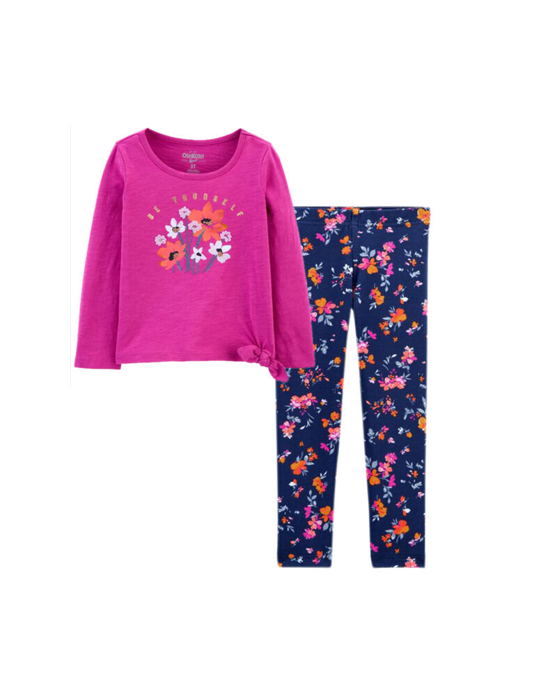 Tie-Hem Top & Floral Leggings Set, , hi-res