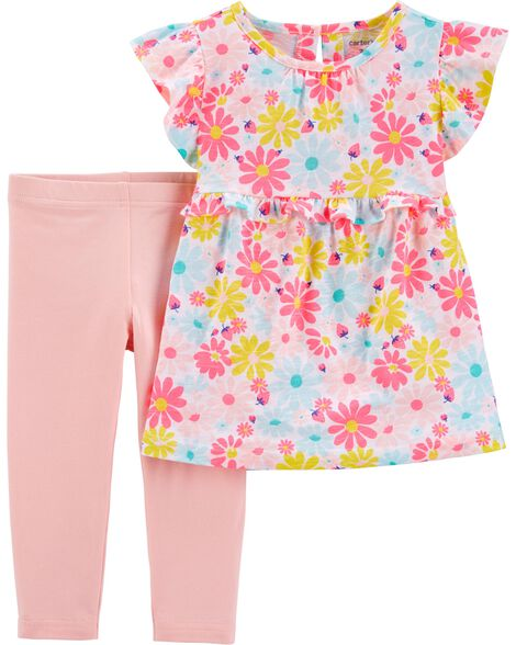 2-Piece Floral Ruffle Top & Legging Set