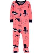 1-Piece Whale Snug Fit Cotton Footie PJs, , hi-res