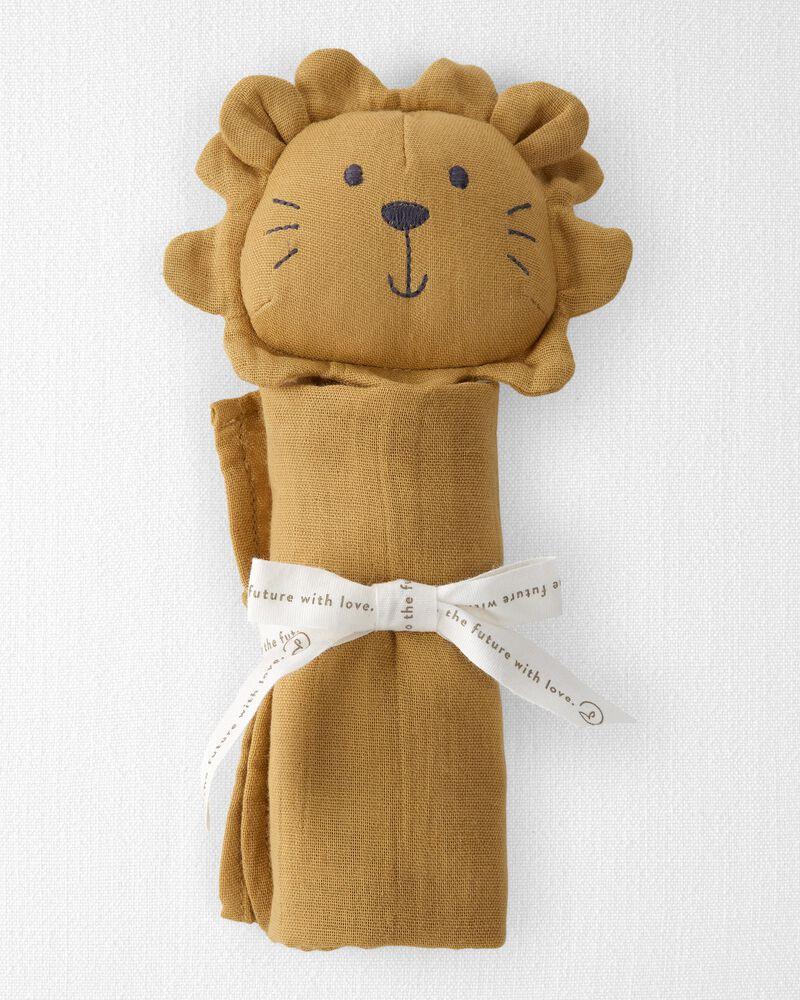 Doudou lion en mousseline de coton biologique, , hi-res