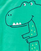 Grenouillère pour dormir et jouer en coton avec boutons-pression et motif dinosaure, , hi-res