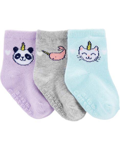 Emballage de 3 paires de chaussettes à animaux licornes