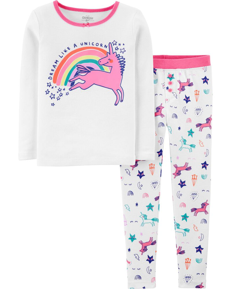 Pyjama 2 pièces ajusté motif licorne, , hi-res