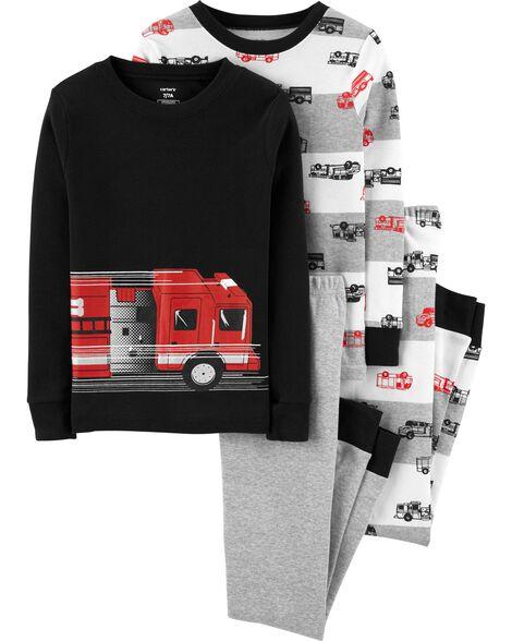 Pyjama 4 pièces en coton ajusté à camion d'incendie