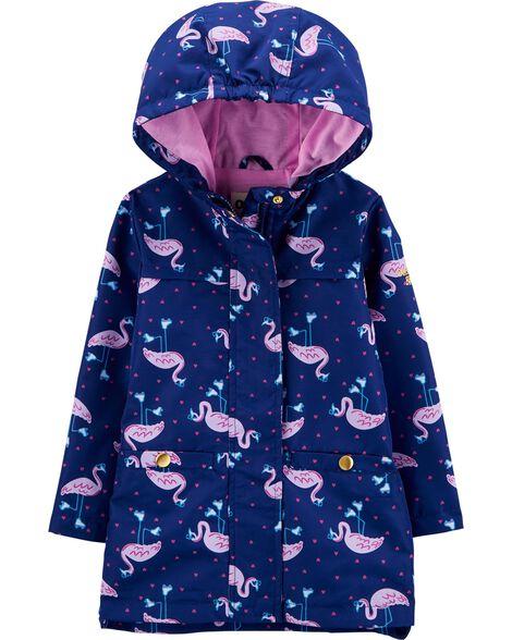 Flamingo Color Change Rain Jacket