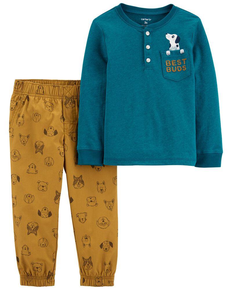 2-Piece Snow Yarn Henley & Poplin Pant Set, , hi-res