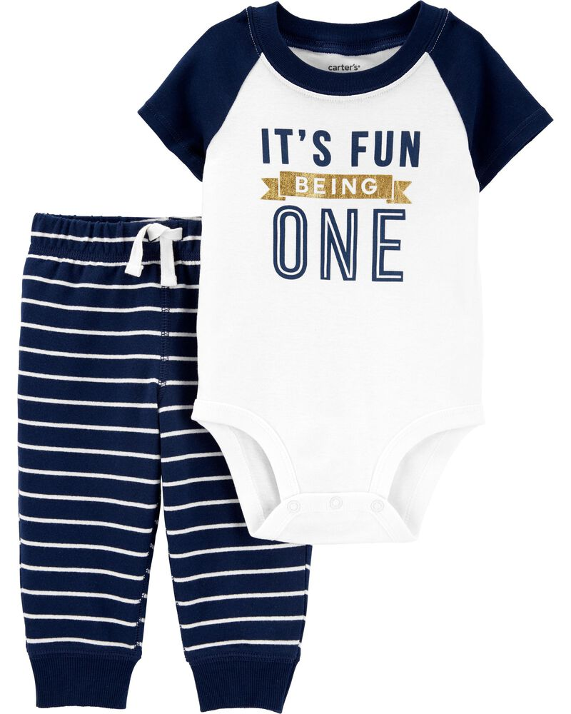 2-Piece Fun Being One Bodysuit Pant Set, , hi-res