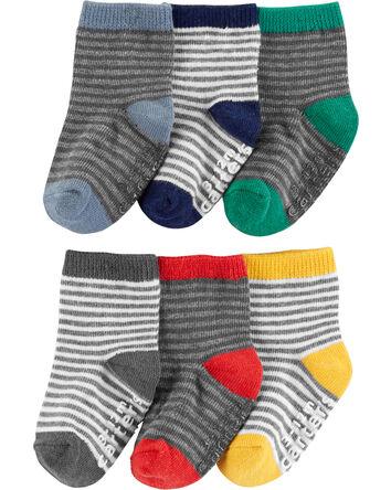 6-Pack Stripe Crew Socks