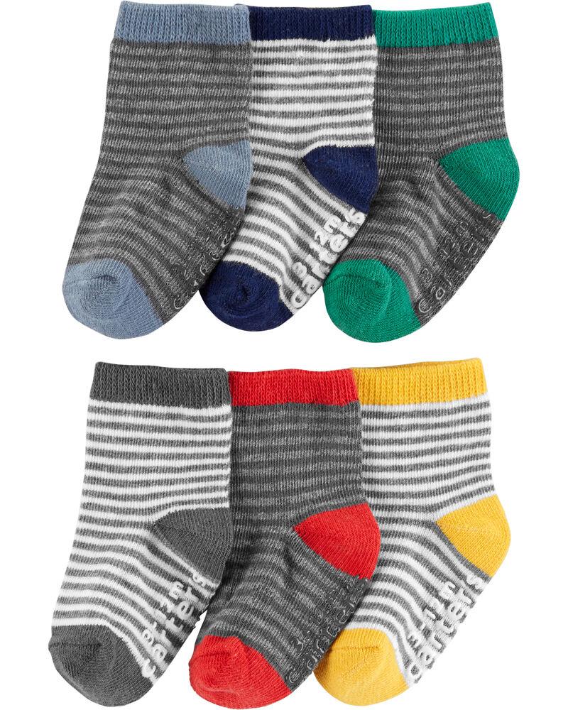 6-Pack Stripe Crew Socks, , hi-res