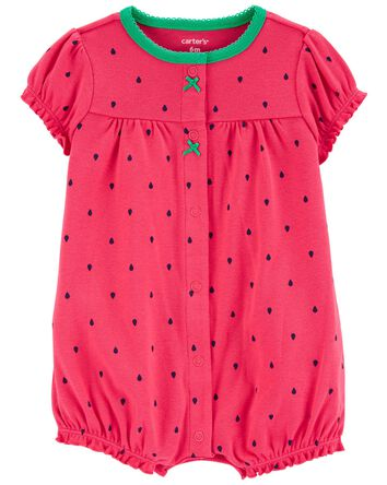 Strawberry Snap-Front Romper