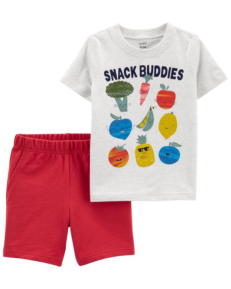 Ensemble 2 pièces t-shirt en jersey à légumes et short , , hi-res