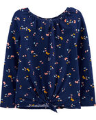 Butterfly Tie-Front Jersey Top, , hi-res