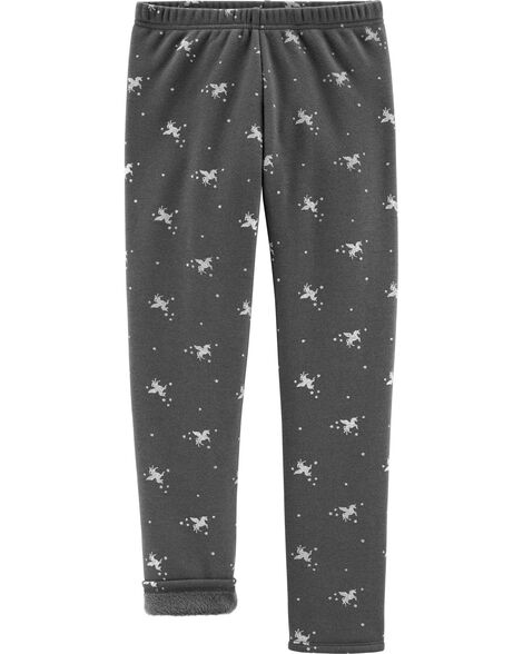 Glitter Unicorn Boa Fleece Leggings