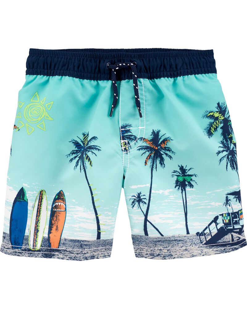 Beach Scene Swim Trunks, , hi-res