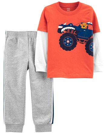2-Piece Monster Truck Tee & Pant Se...