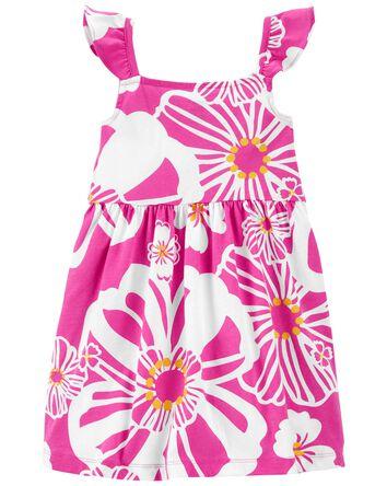 Robe en jersey à imprimé tropical