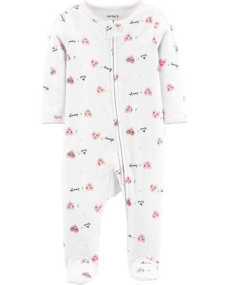 Heart Zip-Up Cotton Sleep & Play